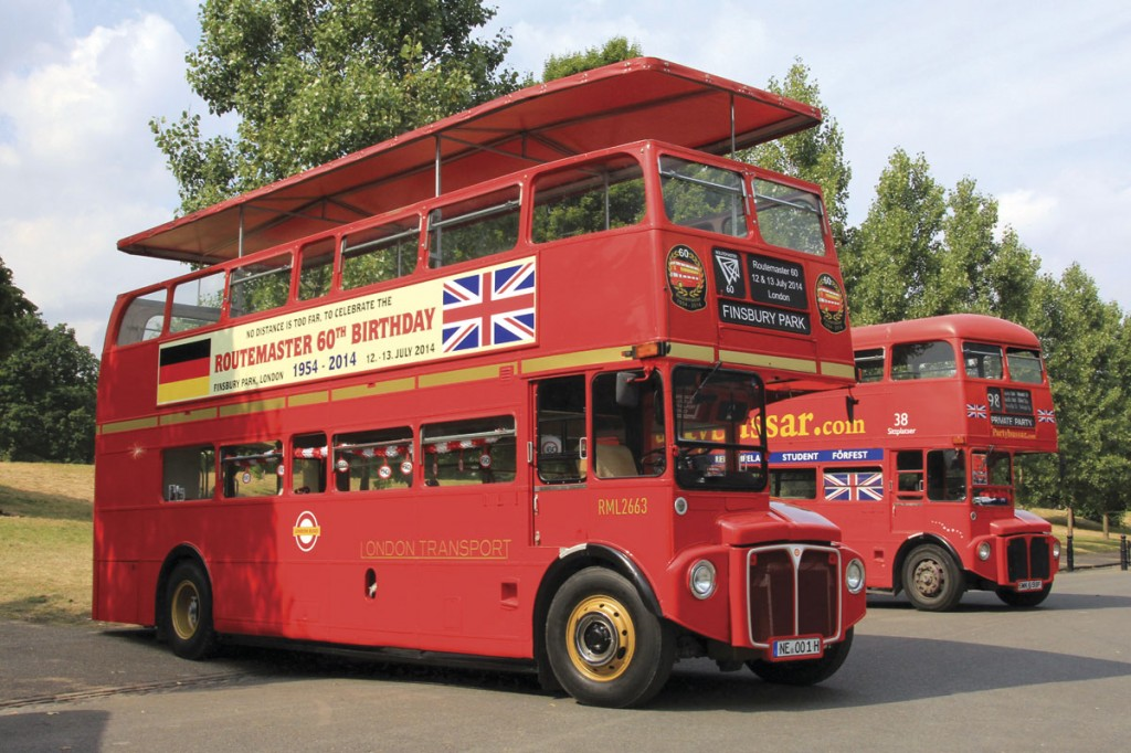 Hermann Herfurter from Neuss, Germany owns two RMLs with sunroofs reducing their height to meet German legislation. Special posters were applied to the red vehicle brought over for Routemaster 60, the other example carries a representation of the silver jubilee livery. The RML behind is normally based in Sweden