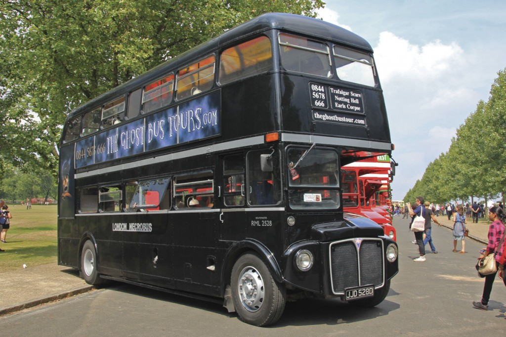 In regular use by The Ghost Bus Tours, this black RML carries London Necrobus fleetnames