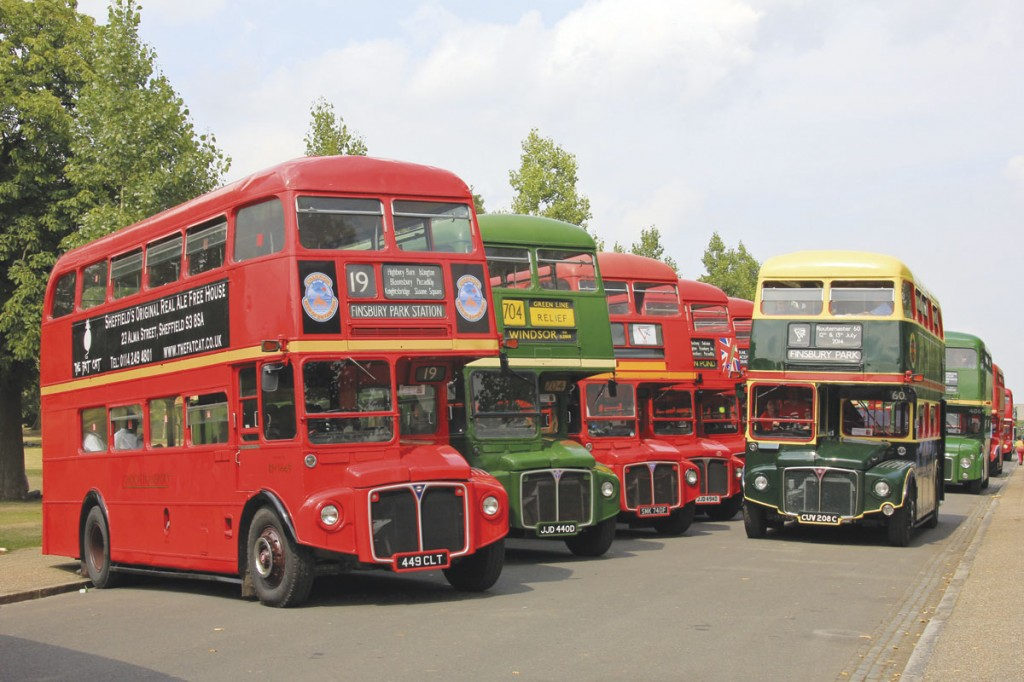 Led by an RM in the 1979 Shillibeer livery, Routemasters return to line following the Saturday afternoon parade