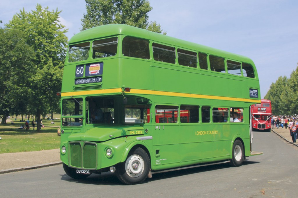 Now part of RedRoutemaster's hire fleet, this RML carries a vivid representation of London Country's early NBC colour scheme