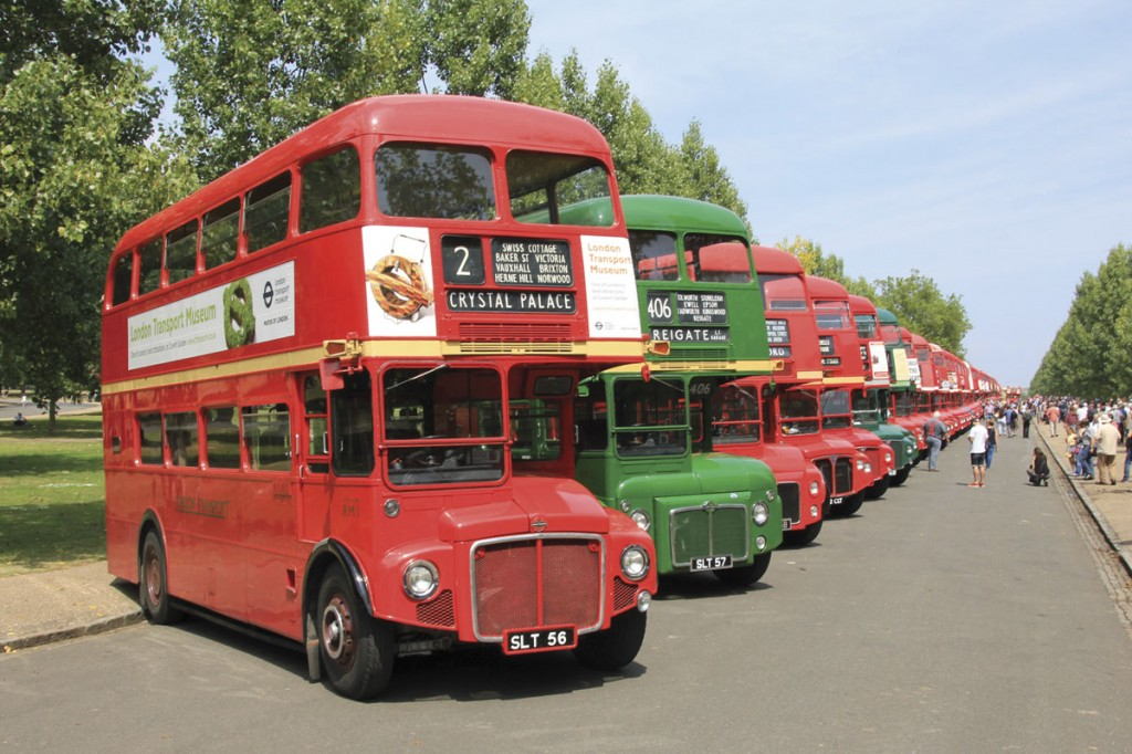 RM 1, 2 and 3 start a line of Routemasters as far as the eye can see along Finsbury Park's main boulevard