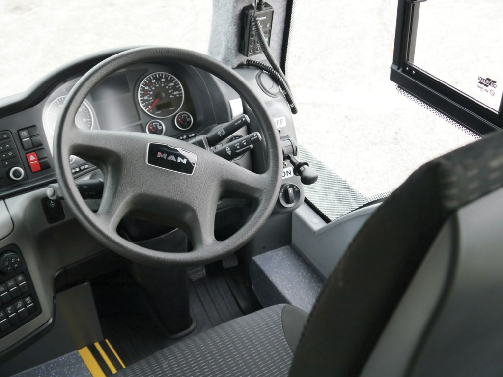 The cab has retained many of the original MAN features, including the dashboard and driver's seat