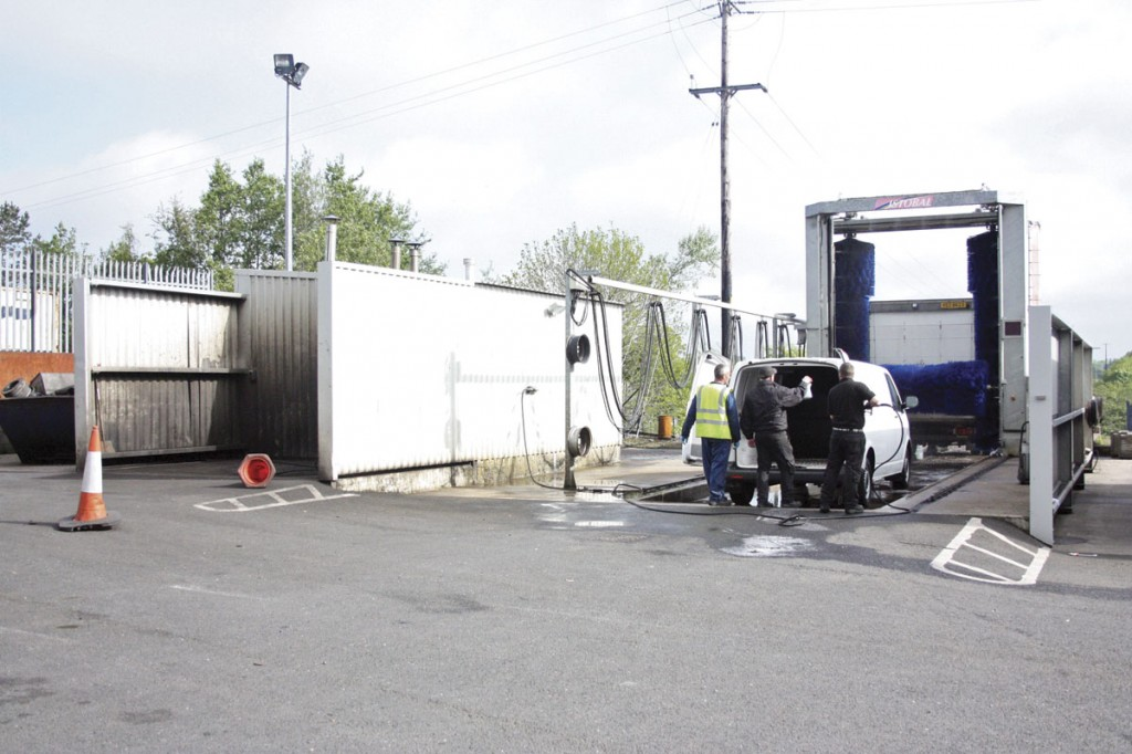 There is a full size mobile vehicle wash, pressure was and under vehicle wash areas