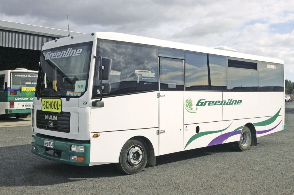 This Greenline of Morrinsville 33-seat coach was created on the chassis of the ex Benson's Beds TGL pictured elsewhere in this article. The TGL7.150 chassis had the wheelbase shortened from 5.2m to 4.25m
