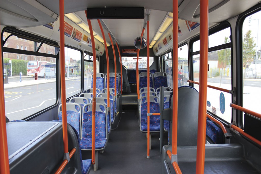 Transferred from elsewhere to serve on the Busway, the East Lancs Esteem bodied Scanias have been extensively internally refurbished