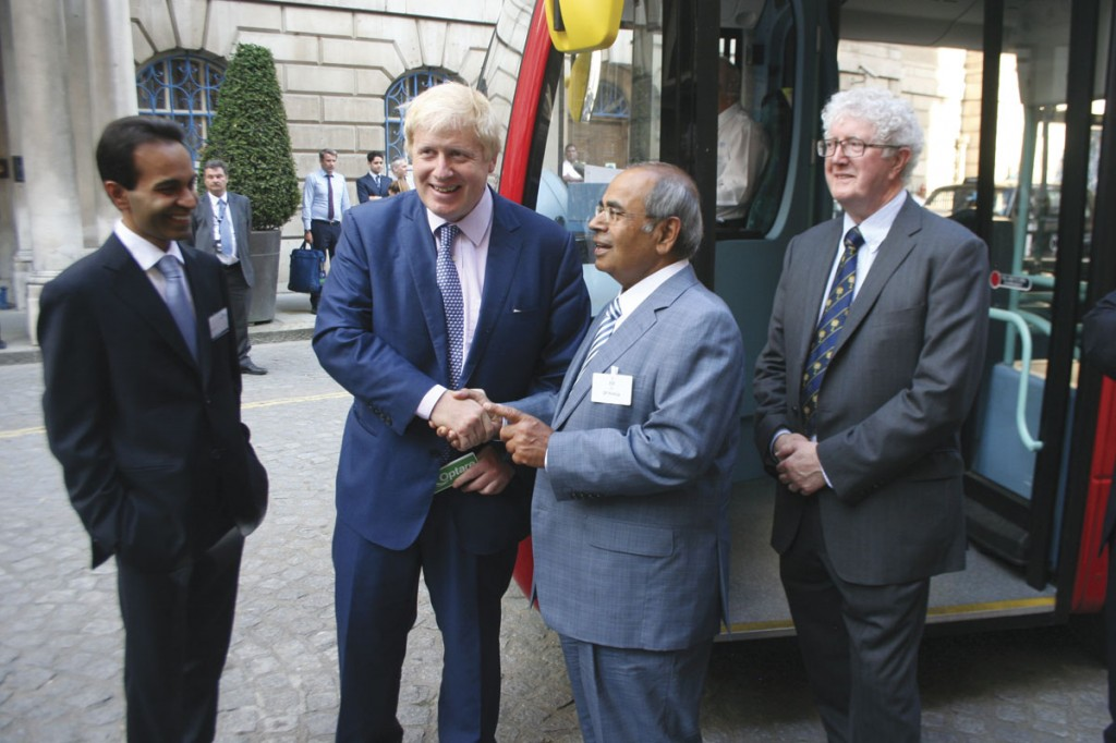 GP Hinduja hands over the keys to the bus to Boris Johnson