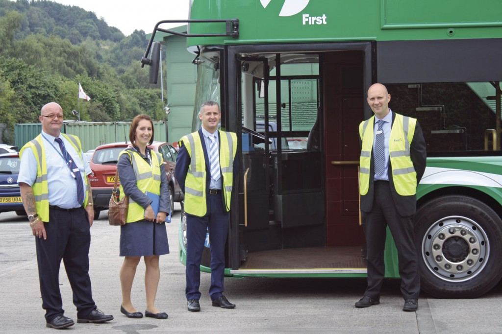L-R First West Yorkshire Bus Driver, Dean McAuley with  Joanne Waddington from Kirklees Council,  Wrightbus National Account Manager, John Hartley and Brandon Jones at Huddersfield bus depot