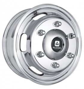 The front wheel from the new Sprinter range of Alcoa aluminium forged wheels