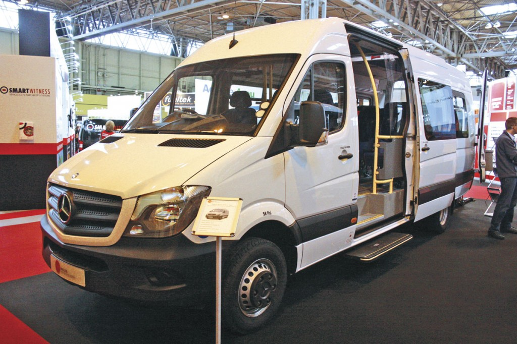 Trekabus's Treka 16 Sprinter conversion features a TDS door system