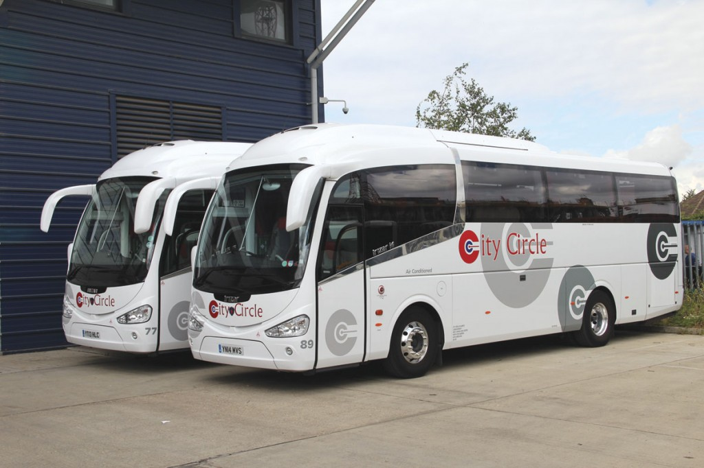 Two of the six 10.78m Scania Irizar i6 coaches City Circle operate. In the foreground is one of the two latest deliveries