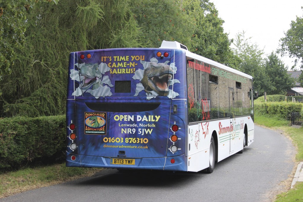All three of the Volvos carry rear end advertisements for Banham Zoo, a nearby attraction, in a deal done by Martyn, who also cuts the vinyl