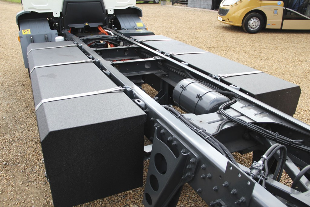 Battery packs on the chassis of an EMOSS electric truck