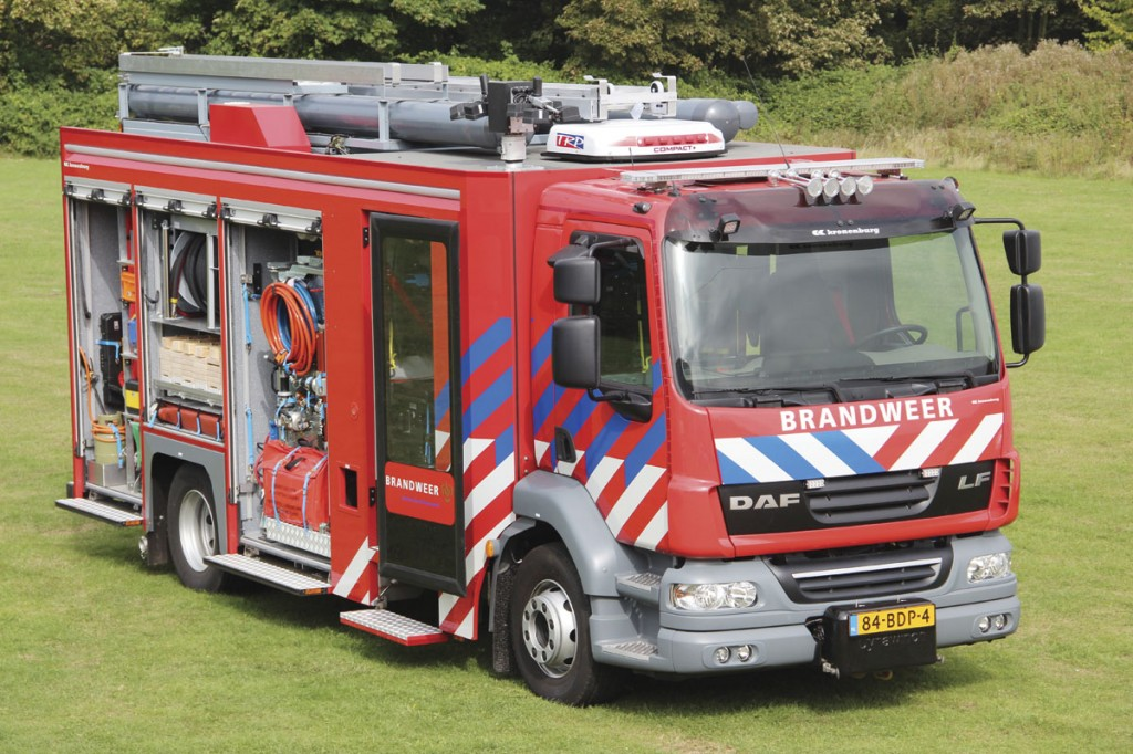 Carrying Kronenburg branding is a DAF LF based fire appliance with a Plastisol built body