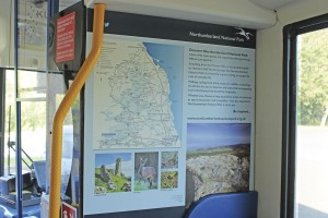 Details on the Northumberland National Park are carried inside the buses, as well as externally along with leaflets