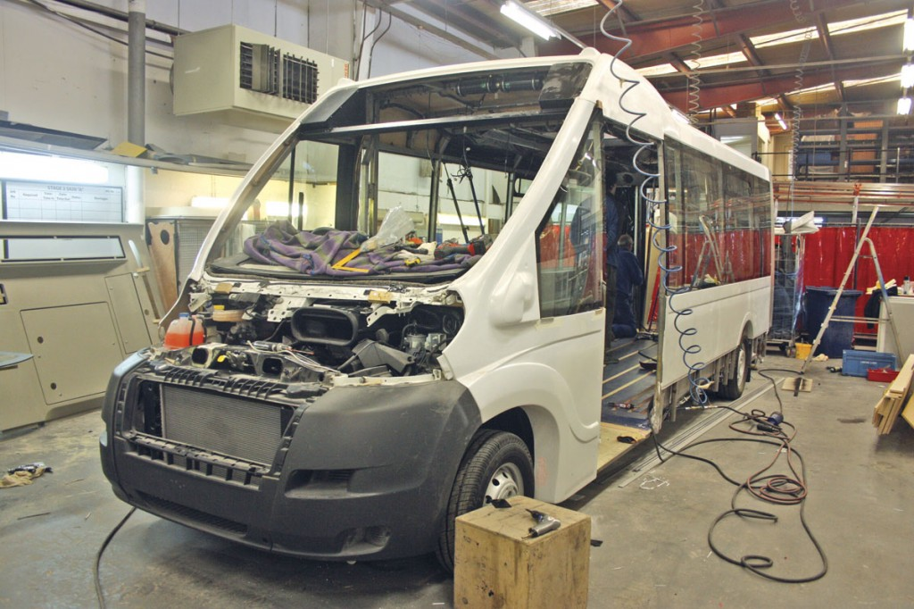 Mellor's new Orion Lite in build at the Rochdale factory. It will be launched at the upcoming Euro Bus Expo