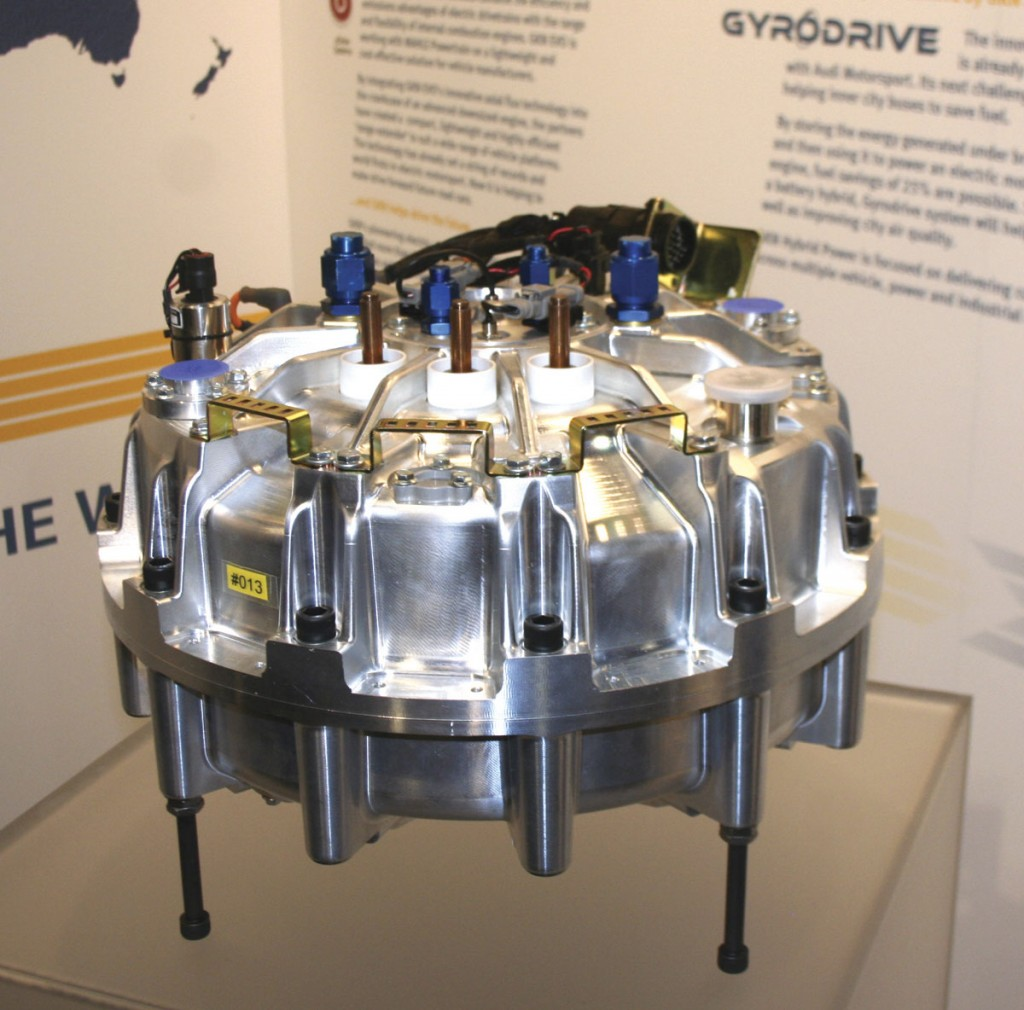 Part of GKN Hybrid Power's Gyrodrive on display at the company's stand