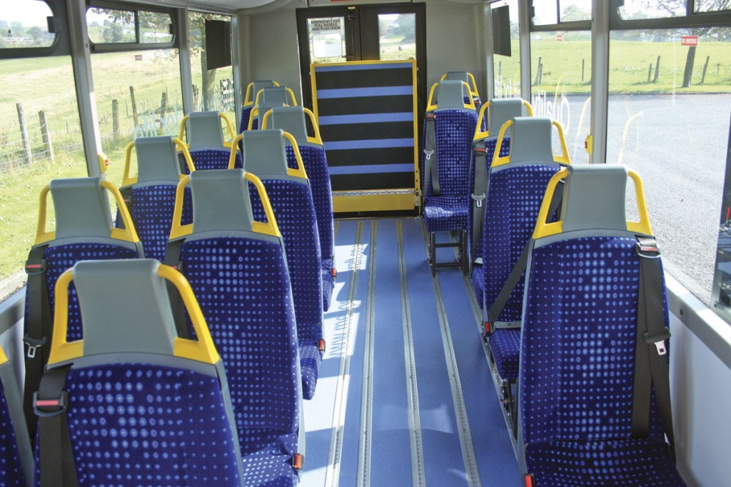 The Orion Plus can carry 20 passengers in this form and 22 in the service bus form. Seats are by Advanced and are a mix of singles, doubles and tip and turn units