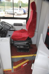 The driver's cab arrangement showing the step concealed behind the full depth door