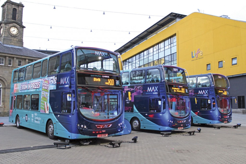 The first MAX route features upgraded Wright Gemini double-deckers finished in two-tone blue