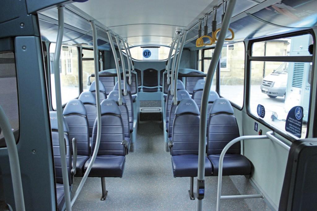 The interiors of the Wright Gemini double-deckers have been refurbished by Bus and Coach World of Blackburn. The work included new handrails and the update of the seats to Esteban Civic V3 standards trimmed in two-tone blue E-Leather_A