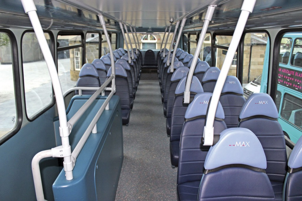 The interiors of the Wright Gemini double-deckers have been refurbished by Bus and Coach World of Blackburn. The work included new handrails and the update of the seats to Esteban Civic V3 standards trimmed in two-tone blue E-Leather