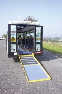 The rear doors fold flat against the rear of the vehicle and the lightweight ramp can be deployed easily by one person
