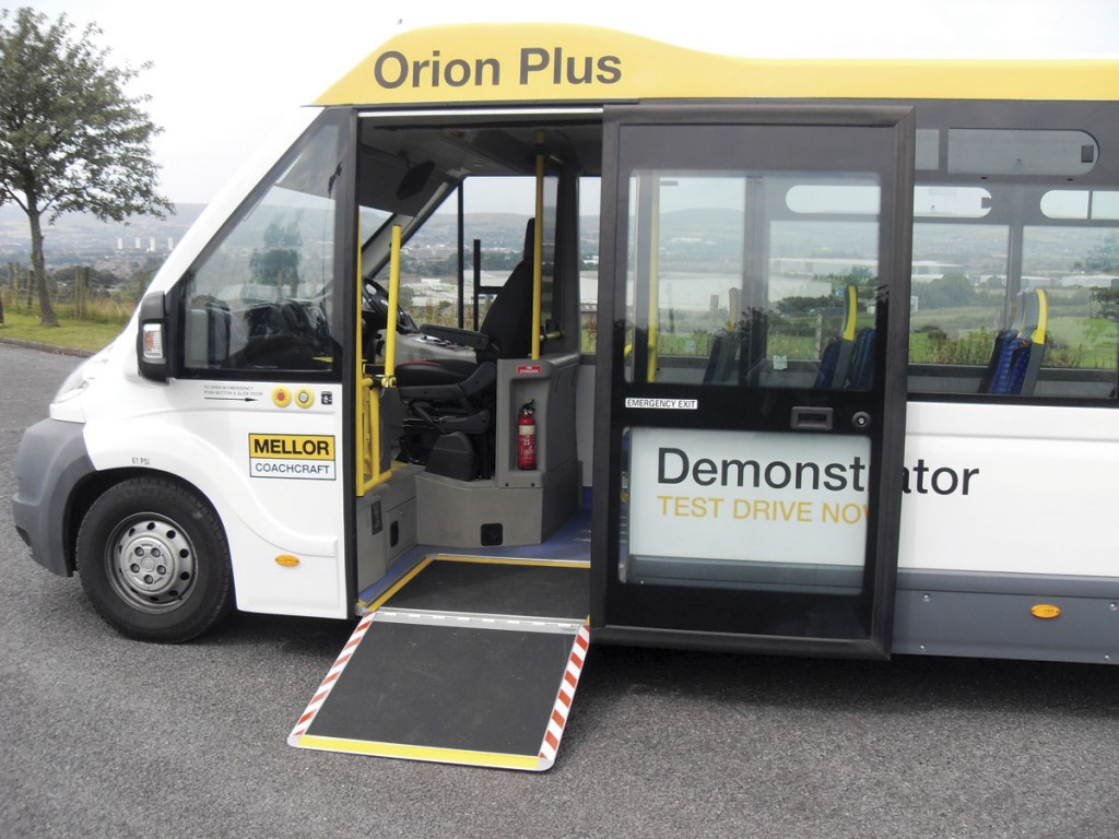 The wide front entrance and single piece Ventura plug door make direct access by wheelchair easy. Even where there isn't a pavement the fold out ramp gives a good shallow angle