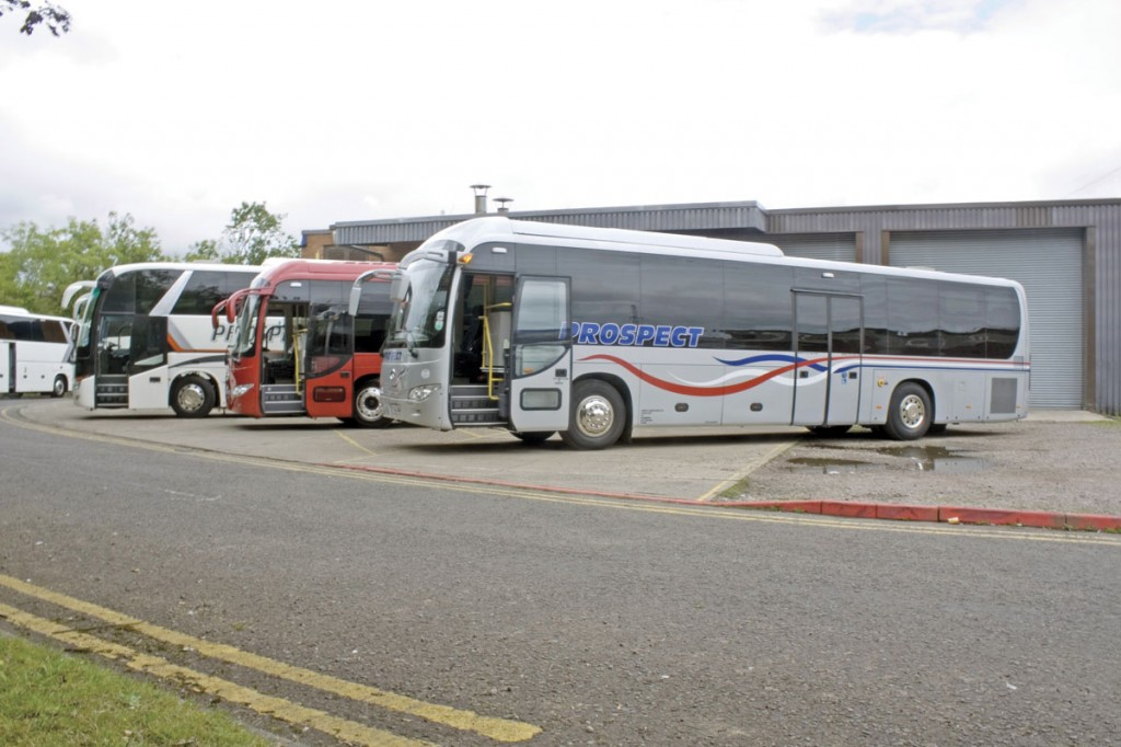 Three of the four King Longs that Prospect Coaches have in their fleet, including the UK's first 53 seat, 13m, 6130 tri-axle