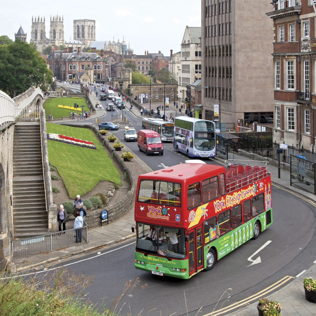 Viewed from the city wall, an impression can be gained of York's significant historic infrastructure which the conversion of sightseeing buses to electric propulsion will help preserve
