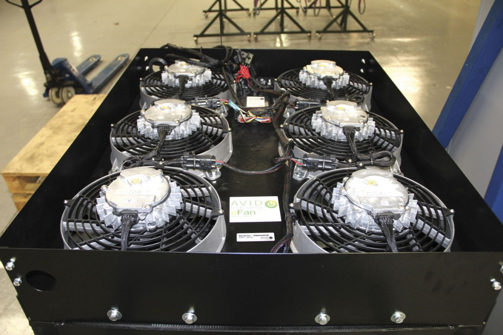 A newly completed e-fan at the end of the production process