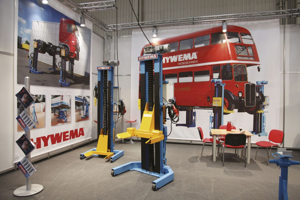 Hywema's London RT bus image formed the backdrop to the company's stand