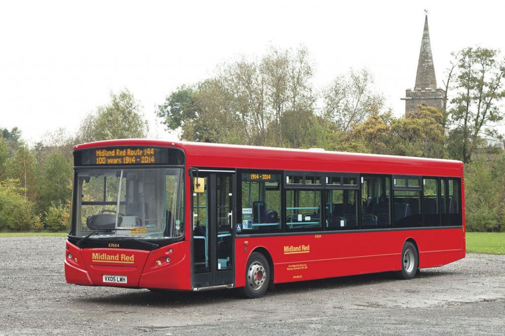 The ADL Enviro300 in the final Midland Red pre-NBC style colour scheme posed at Webb's Garden Centre, Wychbold