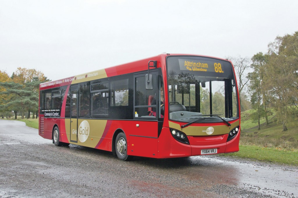 The GHA Gold livery on the ADL Enviro 200s was designed by Sure Signs Ltd