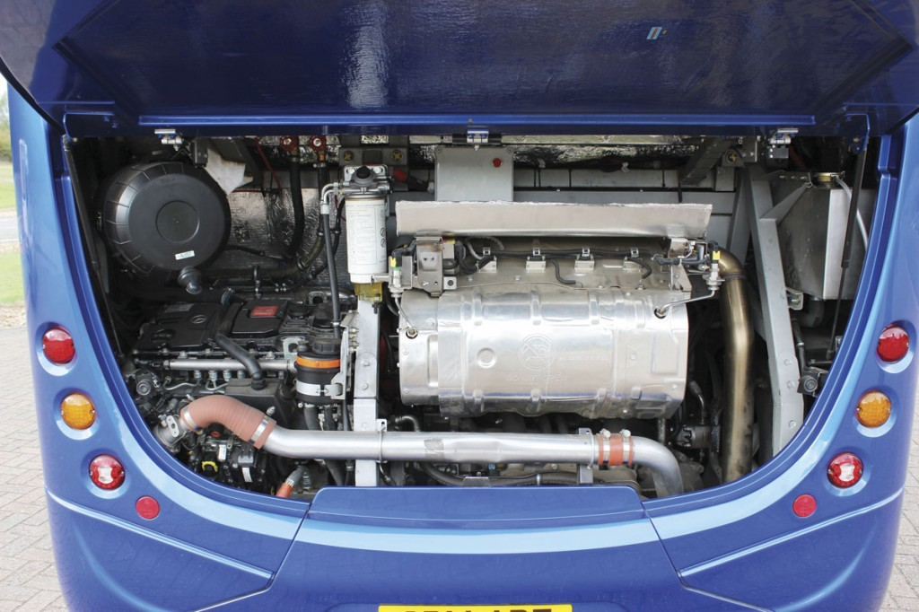 The Mercedes-Benz OM934LA engine is mounted to the left of the engine bay