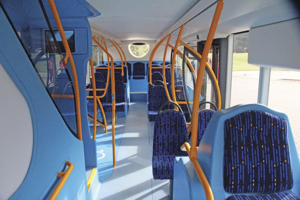 The lower deck. In total the bus has a capacity of 99, 63 of them seated and 22 of these on the lower deck