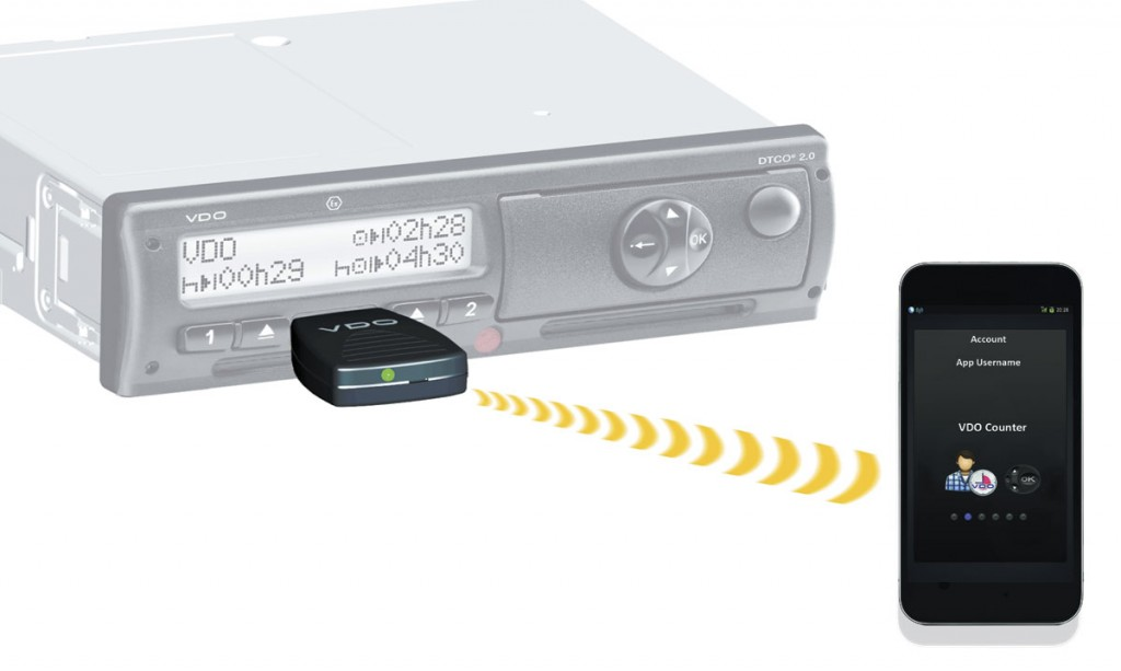 VDO's Smartlink device enables the tachograph unit to be connected up to a driver's smartphone