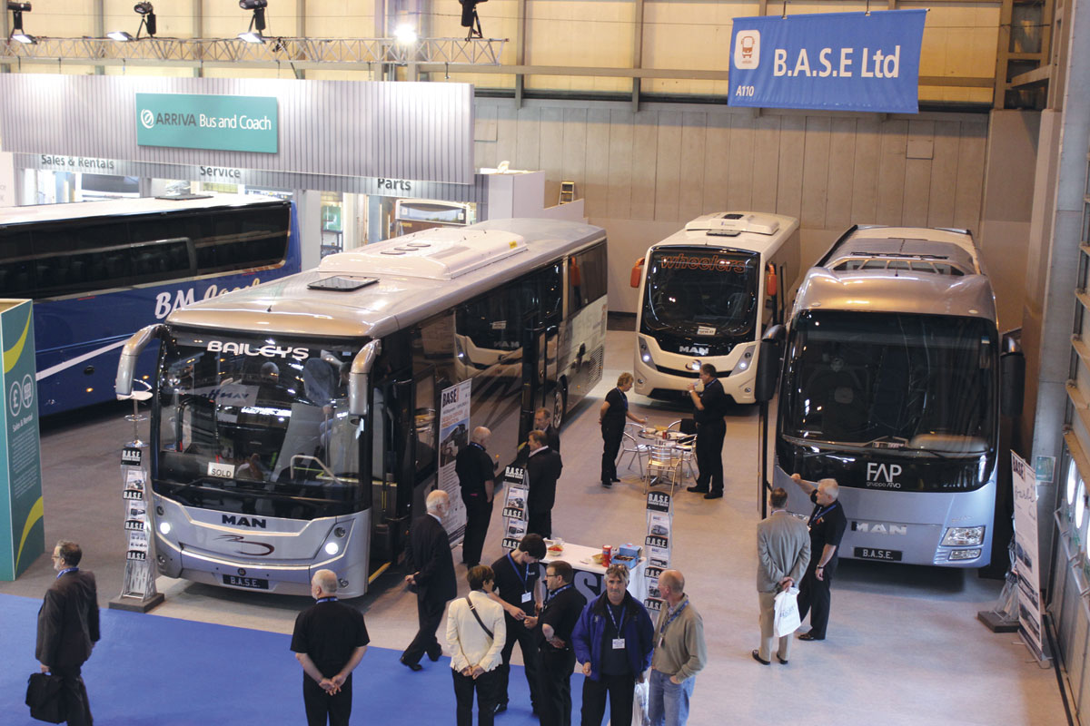 BASE's stand at Coach & Bus Live showing all three of the new models