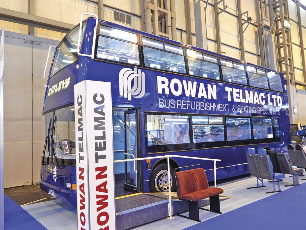 Rowan-Telmac exhibited its seating and refurbishment solutions with a Plaxton President double-decker for Ridleys