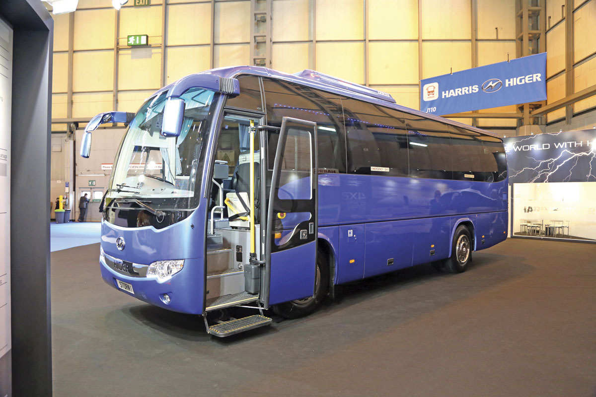 The Chinese built Cummins powered Higer Storm 1 35 seater is imported by the Dublin based Harris Group