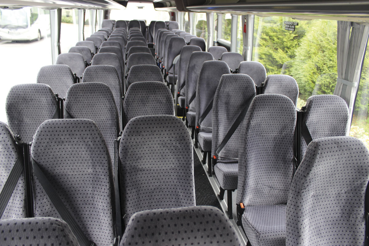 The Explorer II interior from the front showing the 3+2 Prime Buckingham seating
