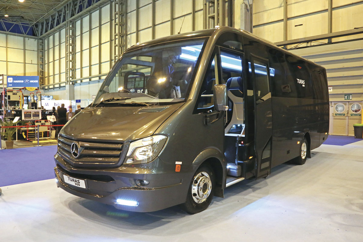 The Turas 900 33 seater introduced by Noones/Minis to Midis. It is based on the nine tonne Mercedes-Benz Atego chassis and is built in Turkey