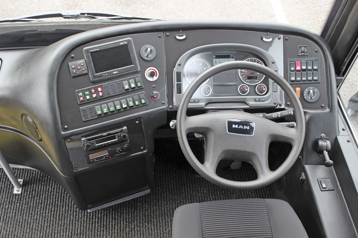The centre and right hand section of the Explorer II dash display are standard MAN while the panel to the left is from MOBIpeople