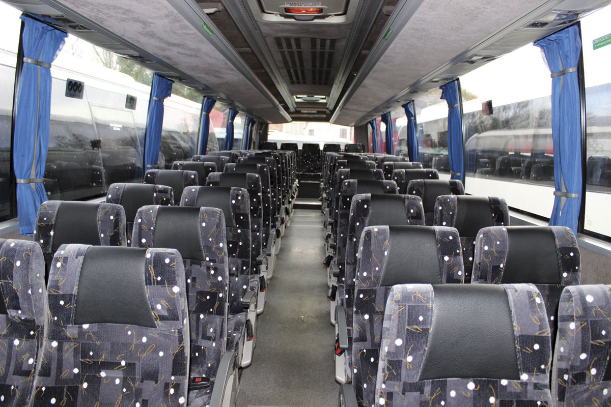 The interior of the two-axle Caetano Levante that has been re-seated to accommodate 57