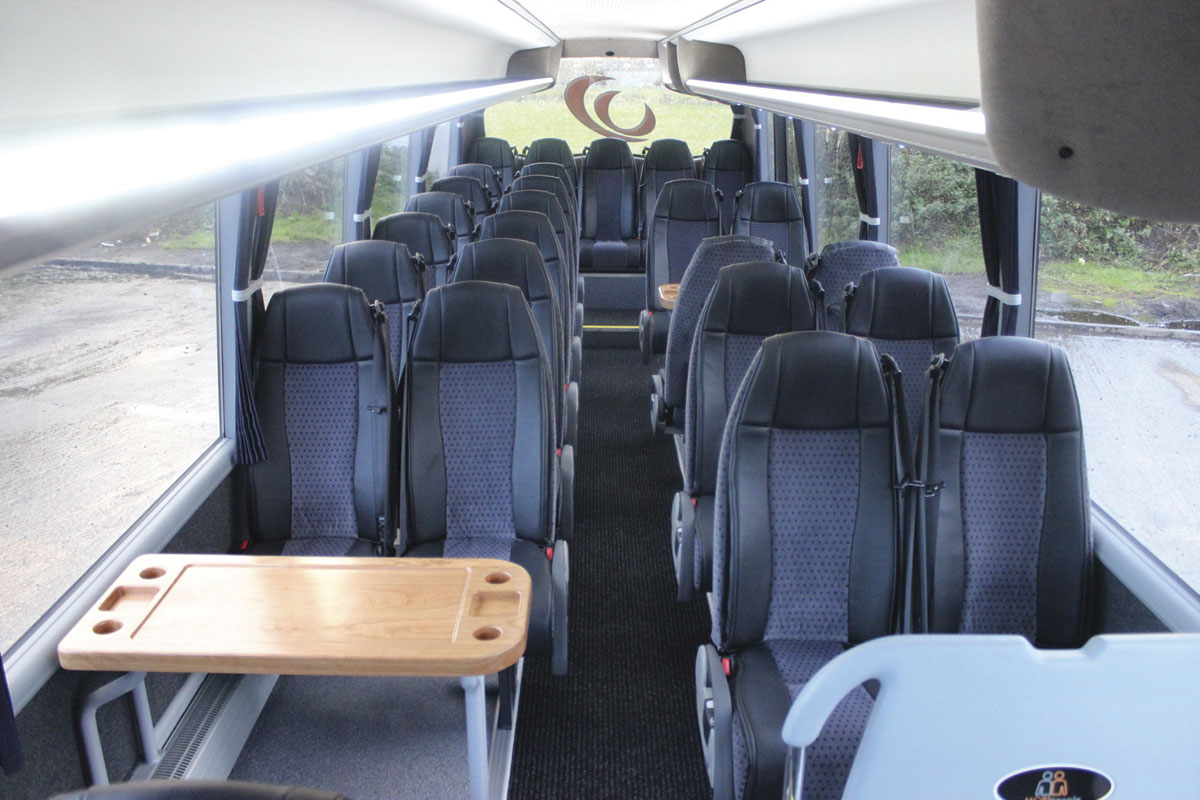 Two tables were fitted for the show but they will be removed prior to it entering service as a 33 seater with Wheelers