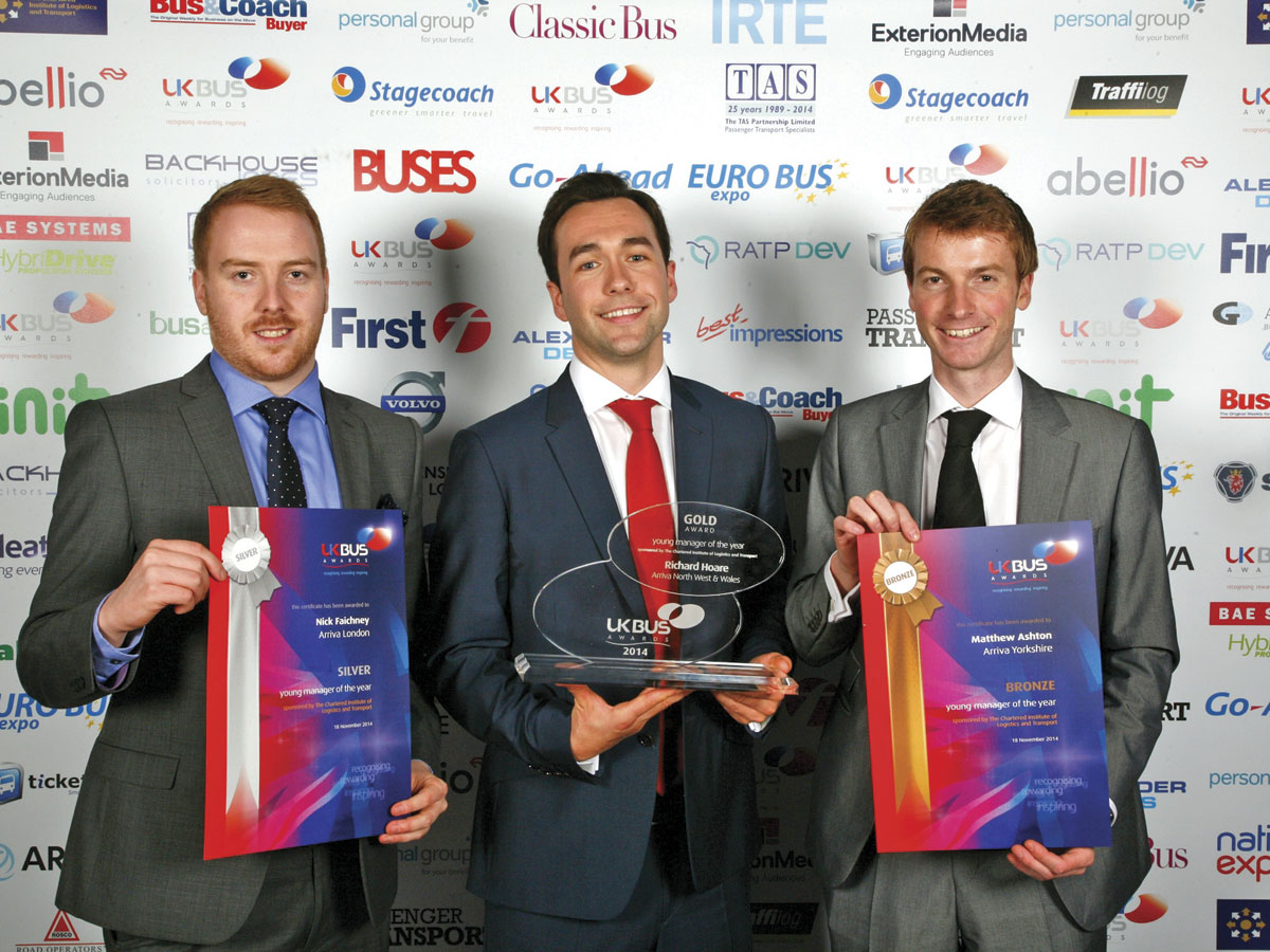 'Young Manager of the Year' winners, Nick Faichnay, (silver) with Richard Hearse (gold) and Matthew Ashton (bronze)