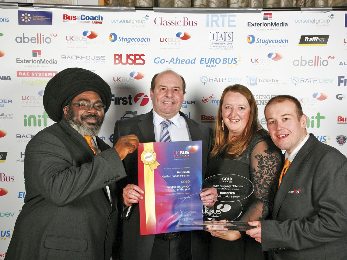 Representatives from Abellio's 'London Bus Garage of the Year' - Battersea