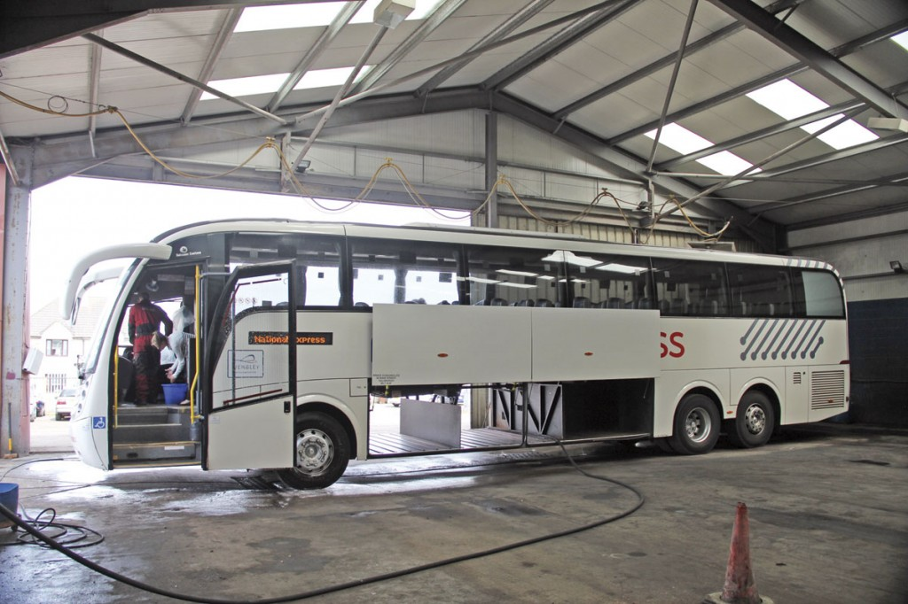 Seen in the old garage, is one of the Scania Levantes undergoing checking and cleaning during a turn around