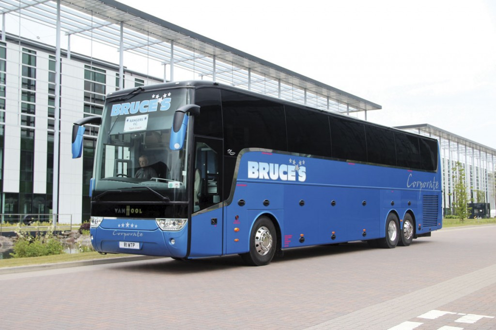 The new Van Hool TX17 Astron Team Coach purchased to carry Rangers. Following its loss a former Eavesway Van Hool TD21 Altano was acquired and refurbished by Eastgate for the work