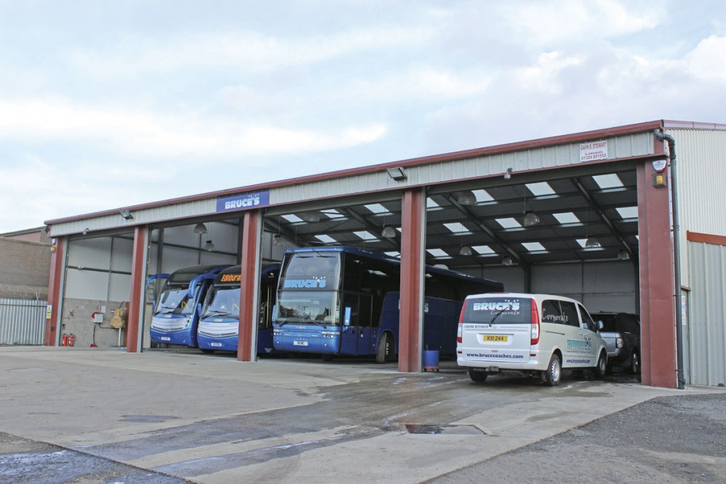 The new garage building which includes a fully equipped rolling road