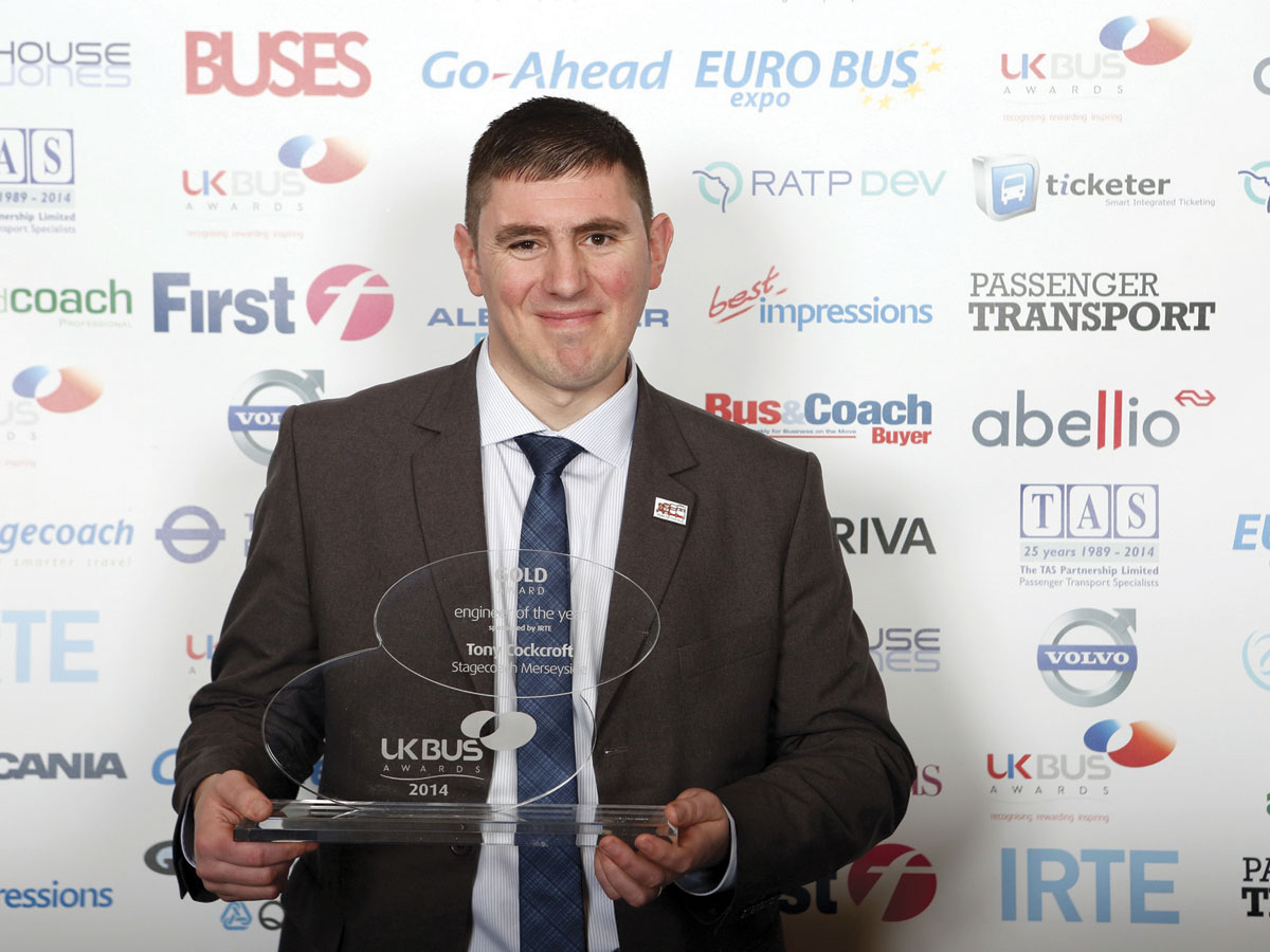 Tony Cockcroft, Stagecoach Merseyside is 'Bus Engineer of the Year'